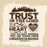 Bijbel het van letters voorzien Christian Art Het vertrouwen in LORD met al uw hart, en leunt niet bij het uw eigen begrip stock illustratie