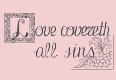 Bijbel het van letters voorzien de Liefde behandelt alle zonden Royalty-vrije Stock Foto's