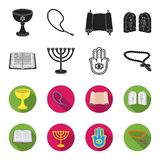 Bijbel, menorah, hamsa, orthodox kruis Pictogrammen van de godsdienst stileren de vastgestelde inzameling in zwarte, flet de vect stock illustratie