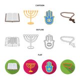 Bijbel, menorah, hamsa, orthodox kruis Pictogrammen van de godsdienst de vastgestelde inzameling in beeldverhaal, overzicht, de v stock illustratie