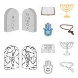 Bijbel, menorah, hamsa, orthodox kruis Pictogrammen van de godsdienst de vastgestelde inzameling in beeldverhaal, vector het symb vector illustratie
