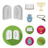 Bijbel, menorah, hamsa, orthodox kruis Pictogrammen van de godsdienst de vastgestelde inzameling in beeldverhaal, de vlakke voorr vector illustratie