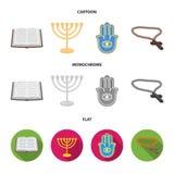 Bijbel, menorah, hamsa, orthodox kruis Pictogrammen van de godsdienst de vastgestelde inzameling in beeldverhaal, de vlakke, zwar stock illustratie