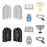 Bijbel, menorah, hamsa, orthodox kruis Pictogrammen van de godsdienst de vastgestelde inzameling in beeldverhaal, de zwarte voorr royalty-vrije illustratie