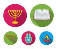 Bijbel, menorah, hamsa, orthodox kruis Pictogrammen van de godsdienst de vastgestelde inzameling in het vlakke Web van de de voor vector illustratie