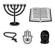 Bijbel, menorah, hamsa, orthodox kruis Pictogrammen van de godsdienst de vastgestelde inzameling in het zwarte Web van de de voor stock illustratie