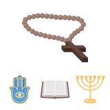 Bijbel, menorah, hamsa, orthodox kruis Pictogrammen van de godsdienst de vastgestelde inzameling in illustratie van de het symboo stock illustratie