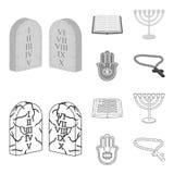 Bijbel, menorah, hamsa, orthodox kruis Pictogrammen van de godsdienst de vastgestelde inzameling in overzicht, de zwart-wit voorr stock illustratie