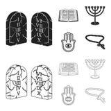 Bijbel, menorah, hamsa, orthodox kruis Pictogrammen van de godsdienst de vastgestelde inzameling in zwarte, vector het symboolvoo vector illustratie