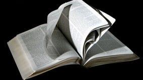 Bijbelpagina's die in de wind op zwarte achtergrond draaien stock video
