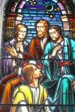 Bijbels Gebrandschilderd glas stock foto's
