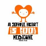 Bijbelse illustratie Het christelijke van letters voorzien Een blij hart is goede geneeskunde, gezegden17:22 royalty-vrije illustratie
