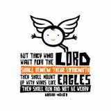 Bijbelse illustratie Het christelijke van letters voorzien Maar zij die op Lord wachten zullen hun sterkte vernieuwen die zij omh royalty-vrije illustratie