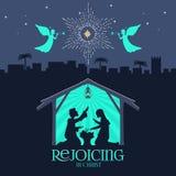 Bijbelse illustratie Meisje dat over giften voor Kerstmis denkt Mary en Joseph met de baby Jesus Geboorte van Christusscène dicht royalty-vrije illustratie