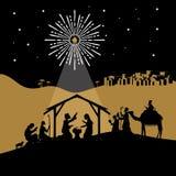 Bijbelse illustratie Meisje dat over giften voor Kerstmis denkt Mary en Joseph met de baby Jesus Geboorte van Christusscène dicht stock illustratie
