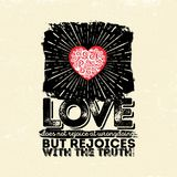 Bijbelse illustratie Typografische christen De liefde zich verheugt niet bij het wangedrag maar verheugt zich met de waarheid, 1  stock illustratie