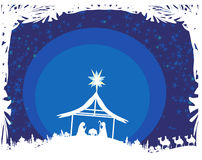 Bijbelse scène - geboorte van Jesus in Bethlehem. Stock Afbeelding