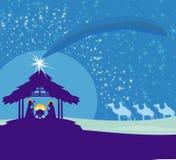 Bijbelse scène - geboorte van Jesus in Bethlehem Royalty-vrije Stock Afbeeldingen