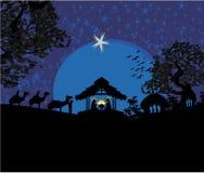 Bijbelse scène - geboorte van Jesus in Bethlehem. Stock Foto's