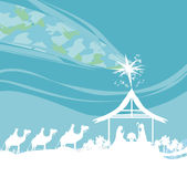Bijbelse scène - geboorte van Jesus in Bethlehem Stock Afbeelding