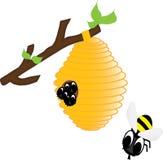 Bijen in de bijenkorf Stock Illustratie