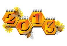 Bijen die een Nieuwjaar aankondigen Royalty-vrije Stock Afbeeldingen