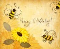 Bijen die gelukkige verjaardag wensen royalty-vrije illustratie
