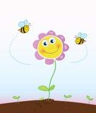 Bijen en bloem Stock Afbeeldingen