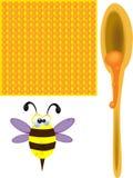 Bijen en honing Stock Afbeeldingen