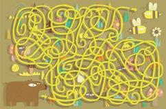 Bijen Maze Game. Oplossing in verborgen laag! Stock Fotografie