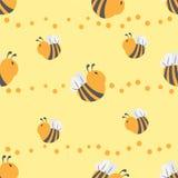 Bijen naadloos patroon Royalty-vrije Stock Afbeelding