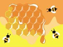 Bijen op honeycells stock illustratie