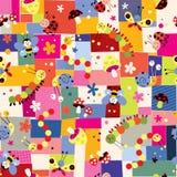 Bijen, paddestoelen, slakken, vlinders, rupsbanden, lieveheersbeestjes en bloemenpatroon Royalty-vrije Stock Fotografie
