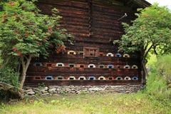 Bijenhuis in de bergen in Oostenrijk in de zomer stock fotografie