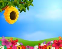 Bijenkorf in de tuin stock illustratie