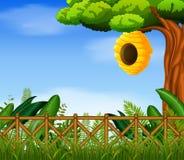 Bijenkorf in de tuin vector illustratie