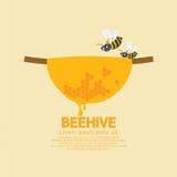 Bijenkorf met bijen Royalty-vrije Stock Foto