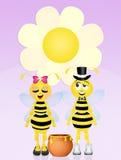 Bijenpaar in liefde Royalty-vrije Stock Foto's