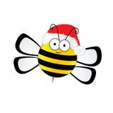 Bijensnoepje met de vector van de Kerstmishoed in kleurrijk Stock Fotografie