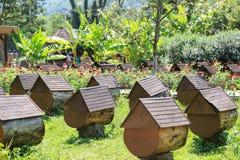 Bijenstal met ongebruikelijke bijenkorven in bergen van Abchazië in de Kaukasus stock foto's