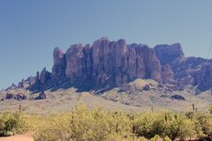Bijgeloofbergen, Apache-verbinding, Arizona, de V.S. Royalty-vrije Stock Foto