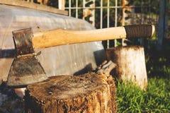 Bijl in een houten stomp wordt geplakt die Stock Fotografie