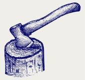 Bijl en logboek stock illustratie