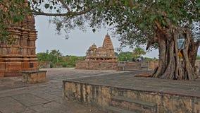 BIJOLIA, RAJASTHAN, INDIA - DECEMBER 11, 2017: Hindoese tempels met een Banyan-boom in de voorgrond Bijolia wordt gevestigd 50 km Royalty-vrije Stock Fotografie