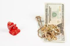 Bijou, amour et argent d'or Image stock