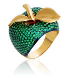 bijou Anneau d'or avec les pierres précieuses Photos libres de droits