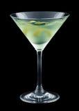 Bijou cocktail with lemon twist isolated on black background Royalty Free Stock Photo