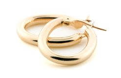 Bijou d'or - boucles d'oreille Photos libres de droits