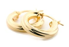 Bijou d'or - boucles d'oreille Photo libre de droits