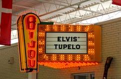 Bijou Elvis Presley Tupelo Orange Neon Lite Sign. Bijou Elvis Presley Tupelo Lighted Sign, located at the Elvis Presley Rock and Roll Museum outside of Graceland stock photos